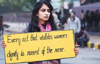 A girl protesting in Delhi