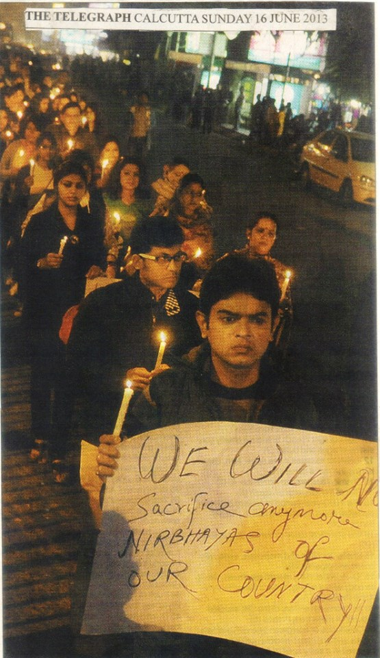 Bobby at a candlelight vigil in Kolkata in June, protesting violence against women
