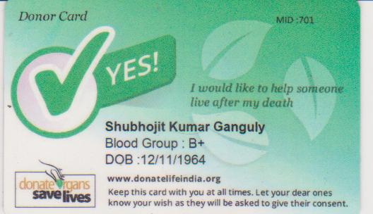 Shubhojit's donor card