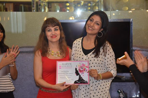 Swati with Marvie at her hair and make-up academy in Mumbai