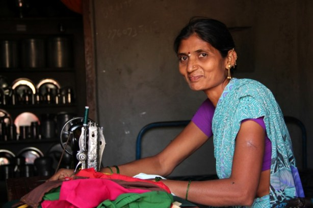 A former Devadasi herself, Mahananda has employed four former Devadasis in her sewing business