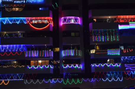 Lit up balconies during Diwali in Dubai
