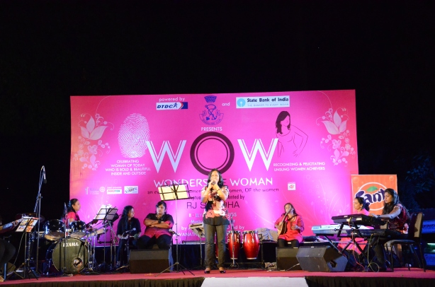 An all-women band performing at WOW