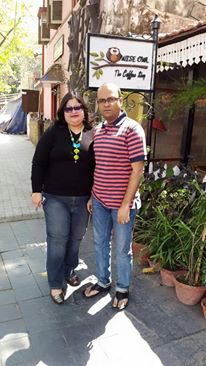 My husband is someone who could live in jeans all his life -- so matched up to him with my jeans and they say black is slimming, so is a natural favorite. Induced some color with beads from Nakshaa by Rijula Duttaroy. Belle shoes from Clarks.