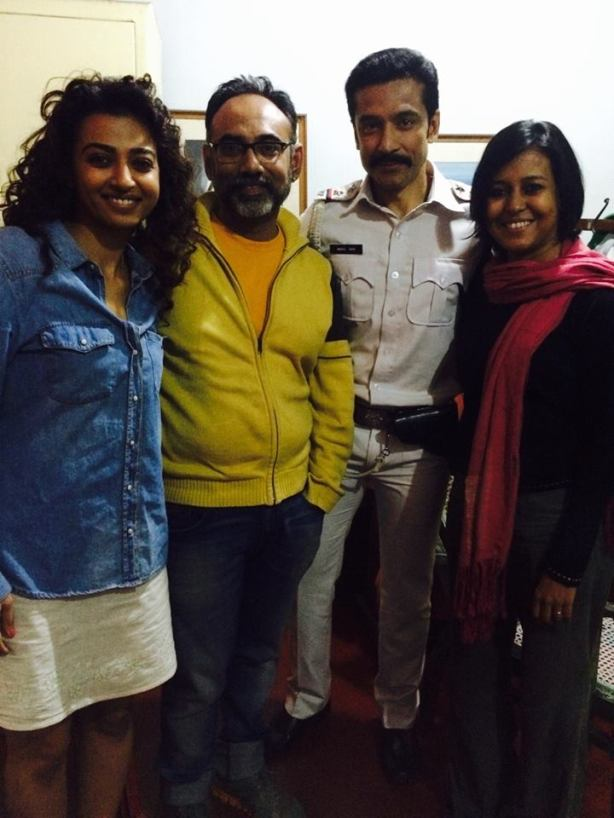 (From left:) Radhika Apte, make-up artist Aniruddha Chakladar, Tota Roy Choudhury and Suchismita on the sets of Ahalya