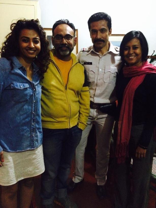(From left:) Radhika Apte, make-up artist Aniruddha Chakladar, Tota Roy Choudhury and Suchismita on the sets of Ahalya